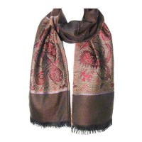 Brown Paisley Metallic Pashmina Scarf Shawl
