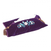 Purple Floral Velvet Tassel Tissue Box Cover