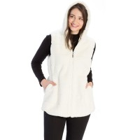 STYLISH WHITE LONG HOODED FAUX FUR VEST