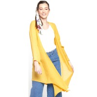 Versatile Carefree Long Yellow Cardigan