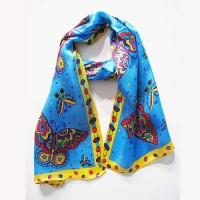 Blue Whimsical Imagery Butterfly Print 100% Silk Scarf