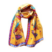 Whimsical Dragonfly Print Silk Long Scarf