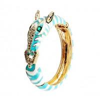 Stunning Turquoise Zebra Enamel Crystal Bangle Cuff Bracelet