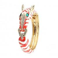 Stunning Coral Zebra Enamel Crystal Bangle Cuff Bracelet