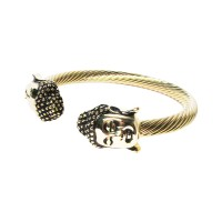 Stunning Gold Buddha Cable Rope Cuff Bracelet