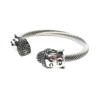 Stunning Silver Buddha Cable Rope Cuff Bracelet