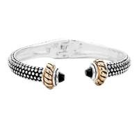 Classic Silver Black 'Dot' Cuff Bracelet