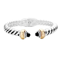 Classic Silver Gold Cable Rope Cuff Bracelet