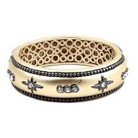 Dazzling Starburst Gold Gunmetal Cuff Bracelet