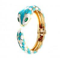 Gorgeous Turquoise White Snake Enamel Crystal Bangle Cuff Bracelet