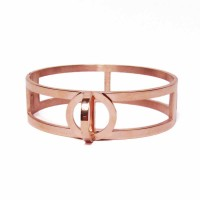 Modern Rose Gold Twist Double Bangle Bracelet