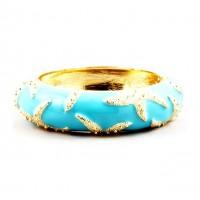 Turquoise Enamel Lacquer Starfish Bangle Bracelet