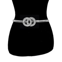 Silver Double Ring Crystal Metallic Waist Belt
