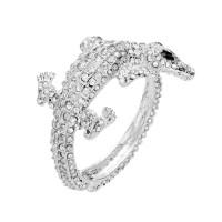 Glittering Oversized Silver Rhinestone Crocodile Statement Cuff Bracelet