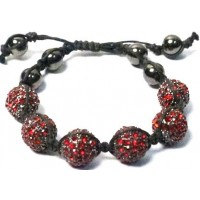 Rhinestone Red Ball Adjustable Cord Bracelet