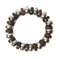 HANDCRAFTED BROWN DRUM TRIBAL STRETCHY STATEMENT BRACELET