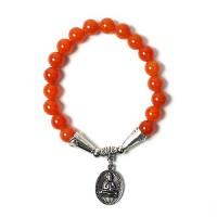 Handcrafted Genuine Carnelian Brown Beads Buddha Stretchy Bracelet