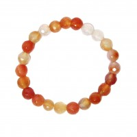 Handcrafted Genuine Multi Faceted Carnelian Beads Stretchy Bracelet