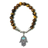 Handlcrafted Genuine BrownTigereye Hamsa Hand Evil Eye Stretchy Bracelet