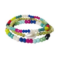 Multi Color Rainbow Beads Pearly Stretchy Bracelet