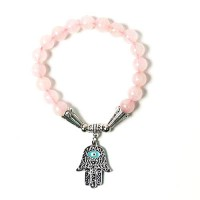 Handcrafted Genuine Rose Quartz Hamsa Hand Evil Eye Stretchy Bracelet