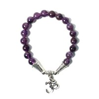 Handcrafted Genuine Purple Amethyst Beads 'OM' Stretchy Bracelet