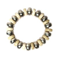 HANDCRAFTED CREAM DRUM TRIBAL STRETCHY STATEMENT BRACELET