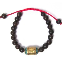 HANDCRAFTED GENUINE ROSEWOOD SANDALWOOD TIBETAN TRIBAL STATEMENT BRACELET