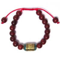 Handcrafted Genuine Red Sandalwood Tibetan Tribal Statement Bracelet