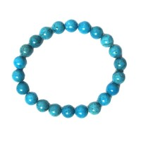Handcrafted Genuine Turquoise Blue Quartz Beads Stretchy Bracelet