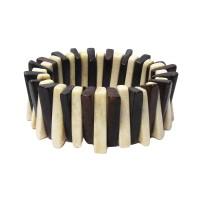 Handcrafted Genuine Cream And Brown Bone Stretchy Statement Bracelet