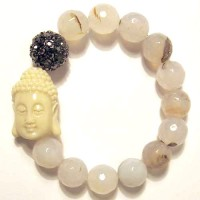 Handcrafted Pearly Stone Beads Buddha Stretchy Bracelet