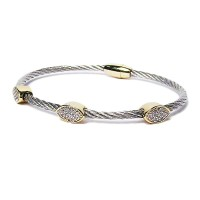 Silver Gold Glittering Cable Rope Cuff Bracelet