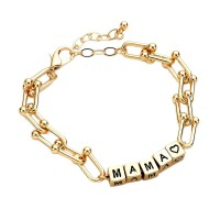 Inspired Mama Heart Gold Chain Link Bracelet