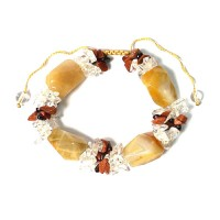 Genuine Icy Brown Quartz Chips Bracelet