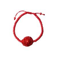 Bold Cinnabar Red Buddha Bracelet