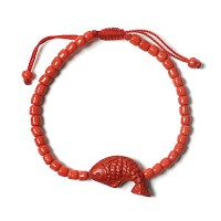 Dramatic Bold Cinnabar Red Fish Bracelet