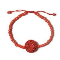Dramatic Bold Cinnabar Red Floral Bracelet