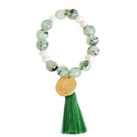 Romantic Icy Green Stone 22k Gold Coin Tassel Stretchy Bracelet
