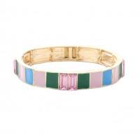 Stylish Multi Pink Square Color Block Crystal Stretch Link Bracelet