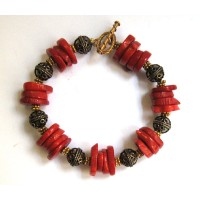 Bold Flame Red Coral Disk Silver Gold Bracelet