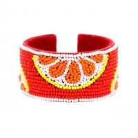 Gorgeous Beaded Orange Cuff Bangle Bracelet