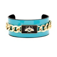 Gorgeous Turquoise Blue Pearly Honey Bee Chunky Chain Cuff Bracelet