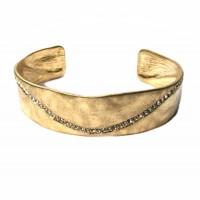 Dazzling Hammered Gold Rhinestone Cuff Bracelet