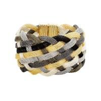 Stunning Gold Silver Black Braided Metal Mesh Cuff Bracelet