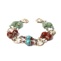 Double Strand Moss Green Turquoise Carnelian Lapis Amber Glitlering Jasper Silver Bracelet
