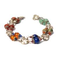 Double Strand Glittering Jasper Carnelian Amber Lapis Moss Green Jade Silver Bracelet