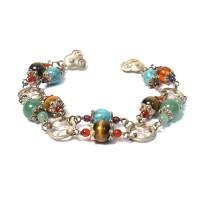 Double Strand Tibetan Turquoise Tigereye Jade Silver Bracelet