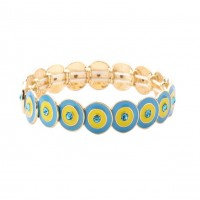 Stylish Blue Crystal Evil Eye Stretchy Bracelet
