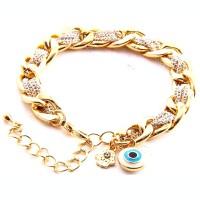 White Evil Eye Hamsa Hand Chain Wrap Bracelet